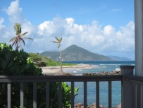 Looking on to St. Kitts from Nisbet's beach.